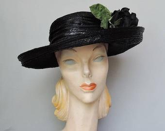 Vintage Black Straw Hat Wide Brim and Huge Rose, 21 inch head Bonwit Teller
