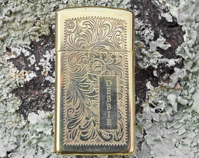 Vintage Brass Zippo Slime Line with scrolling