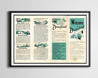 "Vintage 1955 DISNEYLAND Park Brochure Poster! (24"" x 36"" or Smaller) - Opening Year - Fantasyland - Tomorrowland - Disney - 2"