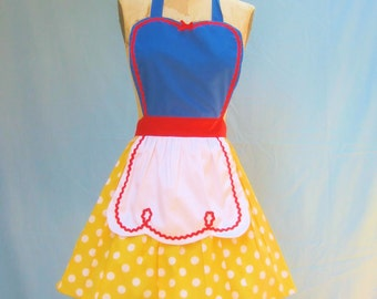 retro apron SNOW WHITE inspired retro APRON womens full costume aprons