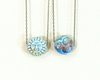 Reversible sun and moon necklace celestial jewelry pagan necklace sun and moon jewelry hippie jewelry wiccan jewelry