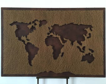 Items similar to world map printed purse tote bag hand bag leather reversed leather world map gumiabroncs Images