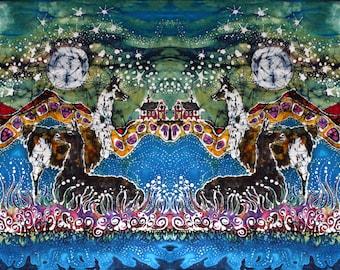 Hills Alive with Llamas - art fabric  from original batik - quilting applique