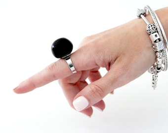 Black Ring, Statement Ceramic Ring - big ring, bold ring, ceramic jewelry, handmade ring, cocktail ring, fashion ring