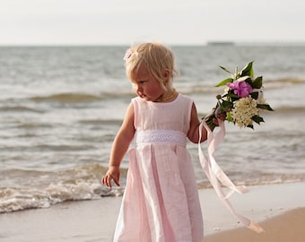 Blush flower girl dress and hair clips for beach wedding, Linen dress girls, Pink dress for girl,  Baby pink dress linen, Summer girl dress