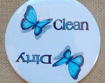 Dishwasher Magnet, Dirty or Clean, Big 3.5-Inch, Blue Butterflies, Insects, From Original Color Pencil Art