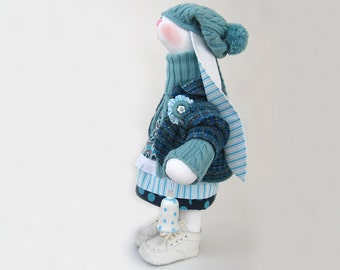 """Stuffed bunny Easter rabbit bunny Becky Art doll cloth toy Stuffed animal Blue Collectible toy 18"""" 45 cm soft  Interior OOAK toy Kids' decor"""