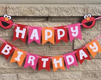 Elmo Inspired Happy Birthday Banner