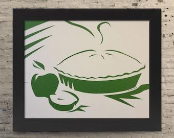 """8.5x11"""" Apple Pie Paper Cutout, Paper Cutout Illustration, Apple Pie Illustration, Apple Pie Gift, Minimalist Apple Pie, Apple Pie"""