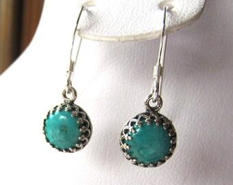 8mm Bezel Set Turquoise Cabochon Dangle Earrings in Sterling Silver