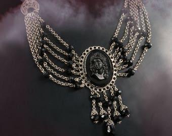 Elvira's Transylvania Cameo Necklace, Mistress of the Dark Necklace, Cameo Necklace, Goth Jewelry, Gothic Necklace, Cameo Jewelry EL_N118