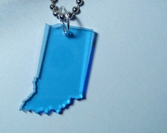 Indiana Necklace Light Blue State Jewelry in Lasercut Acrylic