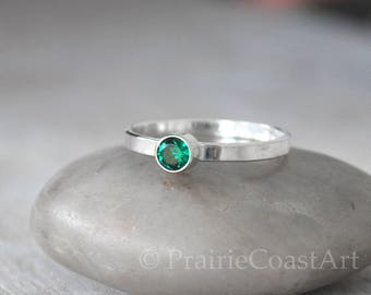 Emerald Stacking Ring, Sterling Silver Emerald Ring - May Birthstone Ring  - Sterling Birthstone Stacking Ring