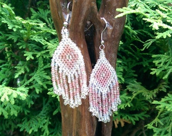 Hand Beaded Clear Crystal and Pink Earrings