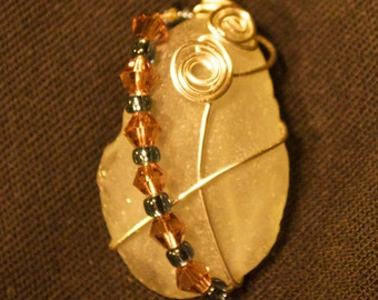 Wire Wrapped Sea Glass Necklace
