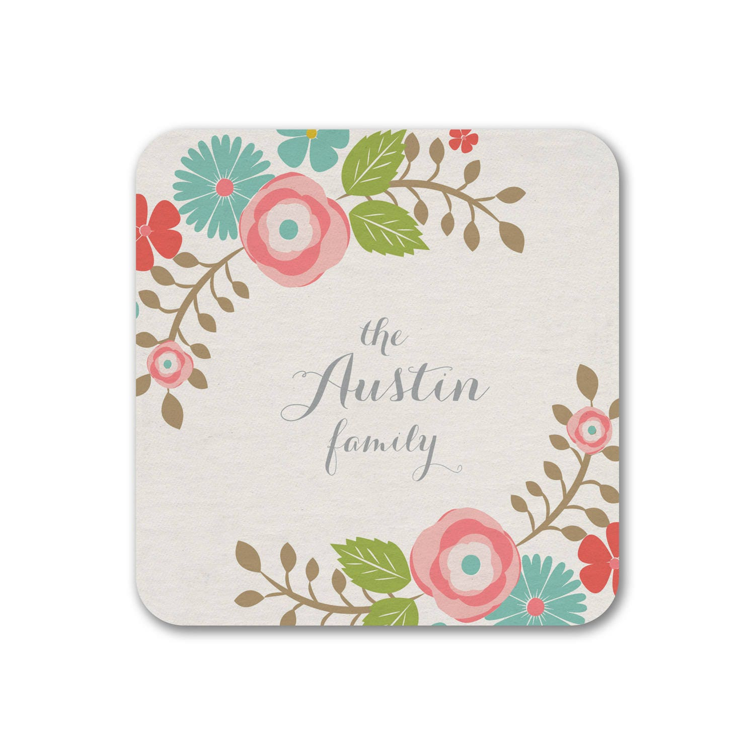 Personalized Coasters Boho Floral, Gift Coaster, Wedding Favors ...