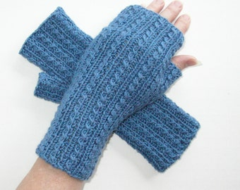 Denim Blue Cashmerino Wool Silk Fingerless Gloves - Tiny Cables