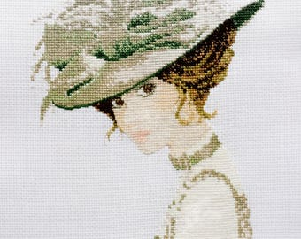 Completed counted cross stitch Elegance lady John Clayton Embroidery Finished needlework Woman in green Handmade Home decor Portrait