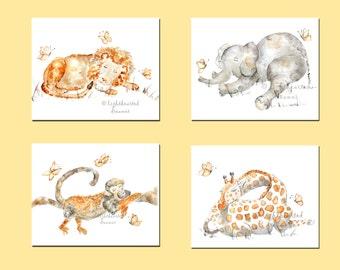 Nursery Print Set, 4 Sleeping Animal Prints, baby artwork, Jungle Nursery, Animal Paintings, Nursery Paintings, Safari Nursery