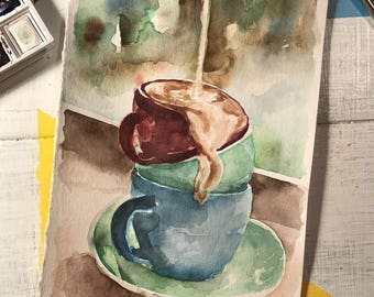 Coffee Break - Jan. 7, 2018 - Coffe cups, watercolor painting, 5.5x8.5