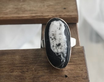 Starlight, white buffalo ring, black and white rinf, whitebuffalo ring, statement ring