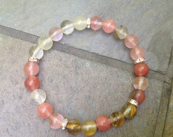 Emotional Healing, Solar Plexus  Chakra Cherry Quartz Gemstones and Swarovski rondelle stretch Bracelet