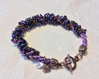 Kumihimo Bracelet with Prong Beads