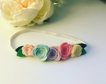 Pastel 5 flower headband