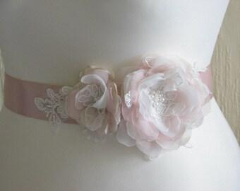 Blush wedding sash Blush champagne sash Wedding sash Champagne sash Ivory lace sash Blush wedding Champagne lace sash Ivory lace blush sash