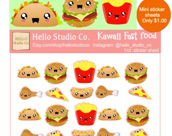 Kawaii fast food planner stickers