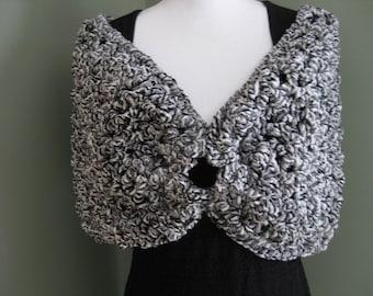 Handmade Women's Shoulder Shrug in Black, Gray and White