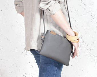 Clutch bag Vegan bag Grey clutch bag Small crossbody bag Gift for her 21st birthday gift Vegan leather bag purse Vegan handbag Handmade bag