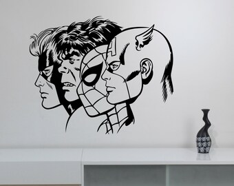 Superheroes Wall Decal Removable Vinyl Sticker Captain America Spiderman Hulk Art Decorations for Home Kids Boys Room Comic Book Decor cpa9