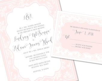 Soft Romantic Floral Wedding Invitation | Sophisticated Wedding Invitation | DIY Option Available | Invitation | RSVP | Info Card #134