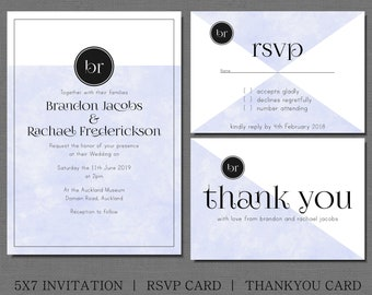 Blue and white minimalist wedding invitation, with matching rsvp and thank you card. with black monogram & parchment paper texture.