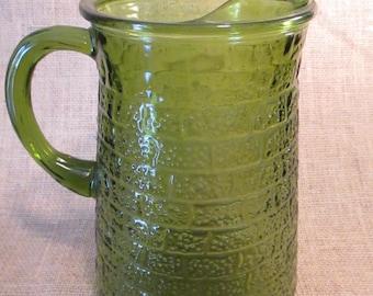 Vintage Avacado Green Glass Pitcher