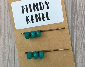 Teal Hairpins, Beaded Bobby pins, Tween Hair Clips, Gift for Girlfriend, decorative barrettes, mom gift,