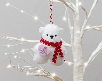 Polar Bear Christmas Tree Decoration - Polar Bear Decoration - Polar Bear - Personalised Christmas Gift - First Christmas