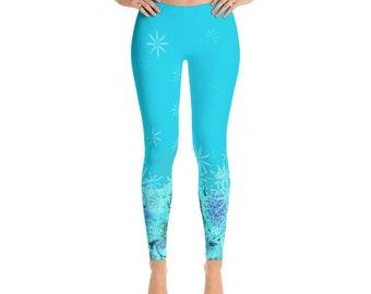 Blue Leggings women, stars leggings, yoga leggings, gym workout leggings, yogagear, gift for her, stretchy leggings, homewear, soft