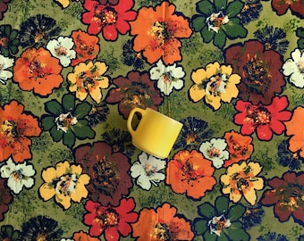 """106"""" x 54"""" 60's Large Floral Fabric Boho Gypsy Colorful Artsy Loud Abstract Flower Power Home Decor Drapery Yardage"""