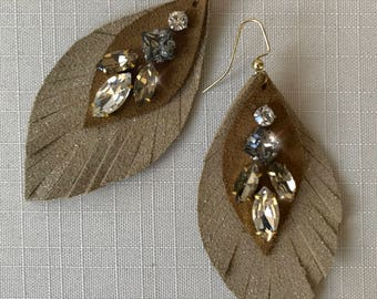 Leather, Handmade, Layered Leaf Earrings with Rhinestones