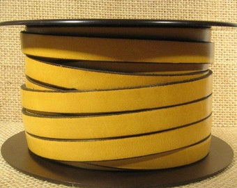 10mm Flat Leather - Mustard - 10F-22 - Choose Your Length