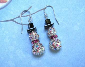 Rhinestone Snowman Earrings, Snowman Earrings, Christmas Earrings, Holiday Earrings, Snowman Jewelry, Christmas Jewelry, Pink Earrings