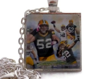 """Green Bay Packer Necklace Clay Matthews Packer Glass Tile Necklace or keychain, 1 inch square Silver 24"""" Chain, Packer Fan, Gift for Her"""