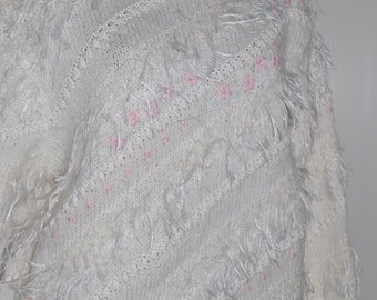 Vintage 80s embroidered wool sweater Size 38-40 FR