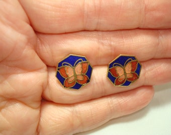 1980's Cloisonné Cobalt Blue Pink and Red Hexagon Shaped Butterfly Earrings.