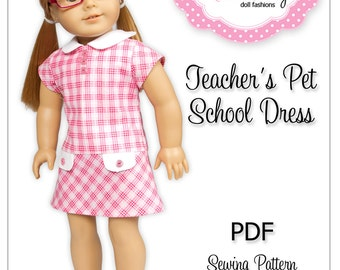 "PDF Sewing Pattern for 18"" American Girl Doll Clothes - Teacher's Pet School Dress ePattern"