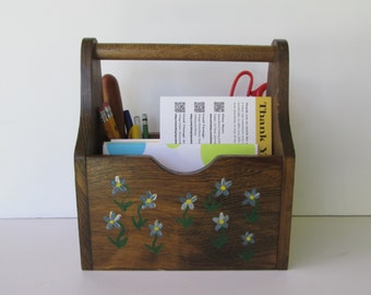 Hand Painted Wood Crate Caddy
