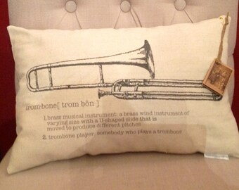 Trombone or Guitar Instrument Pillow