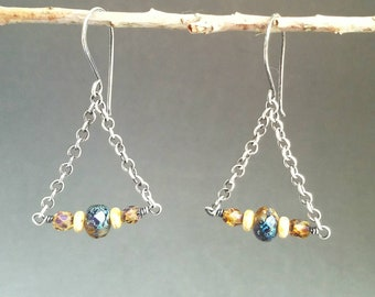 NEW-Earrings-Sterling Silver-Wire Wrapped-Czech Glass-Beads-Earthy-Dangle-Chain-Handcrafted-Handmade-Unique-Wrapped In Enchantment-OOAK